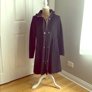 DKNY Black Hooded Pea Coat